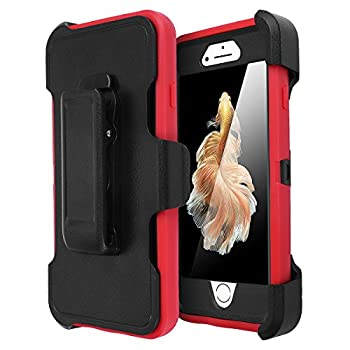 iPhone 6 Case iPhone 6S Case [Heavy Duty] AICase Built-in Screen Protector Tough 3 in 1 Rugged Shorkproof Cover for Apple iPhone 6/6S  Black/Red with Belt Clip