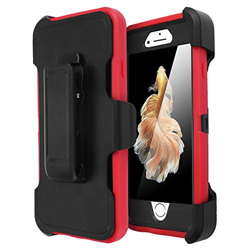 iPhone 6 Case, iPhone 6S Case [Heavy Duty] AICase Built-in Screen Protector Tough 3 in 1 Rugged Shorkproof Cover for Apple iPhone 6/6S (Black/Red with Belt Clip)