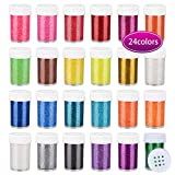 Slime Glitter,Set of 24 Colors,Multi Purpose Glitter Powder Glitter Shake Jars for Arts,Crafts,Decoration Weddings Cards Flowers,for Christmas,Painting Scrapbooking,Body,Face,Nail,Glitter Slime Making