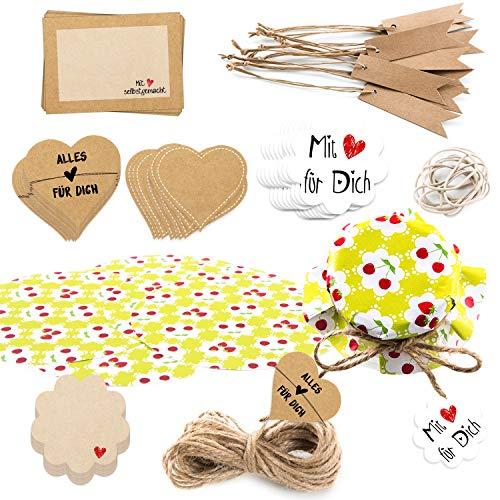 Logbuch-Verlag Set regalo da 81 pezzi – Set di gioielli per vasetti + adesivi + ciondolo – Set decorativo per regali fatti e fai da te