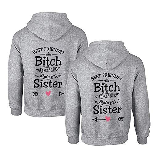 1 Stück Sister Pullover für Zwei Mädchen Beste Freunde Pullover Sister Hoodies BFF Hoodie für Best Friends Kapuzenpullover Damen Pulli Freundin Geschenke (M,Grau-Right)