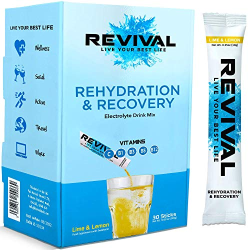 Revival Rapid Rehydration Electrolytes Powder - High Strength Vitamin C, B1, B3, B5, B12 Supplement Sachet Drink, Effervescent Electrolyte Hydration Tablets - 30 Pack Lemon Lime