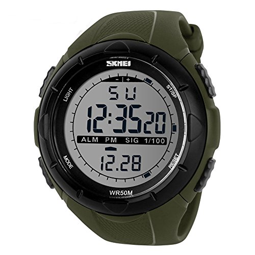 SKMEI 1025 giapponese quarzo display LED 50M impermeabile sport orologio multifunzione
