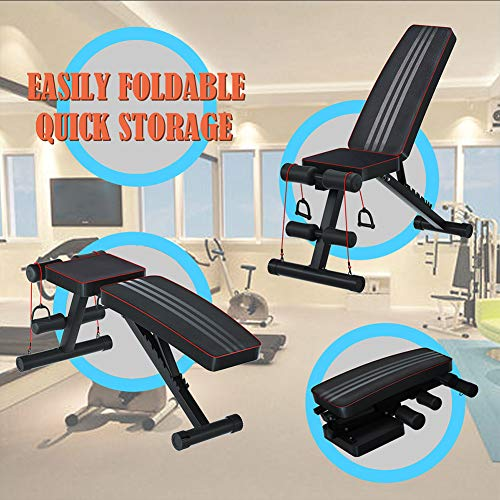 Hooseng Adjustable Weight Bench-Utility Weight Benches For Full Body Workout,Foldable Flat/Incline/Decline FID Bench Press for Home Gym