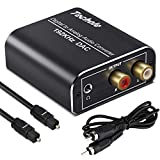 Digital to Analog Audio Converter-192kHz Techole Aluminum Optical to RCA with Optical &Coaxial Cable. Digital SPDIF TOSLINK to Stereo L/R and 3.5mm Jack DAC Converter for PS4 Xbox HDTV DVD Headphone