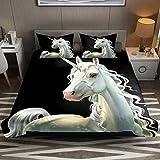 Juego de funda de edredón de microfibra de fácil cuidado con diseño de unicornio mágico, 2 piezas, juego de funda de edredón y fundas de almohada con cremallera para niños y niñas