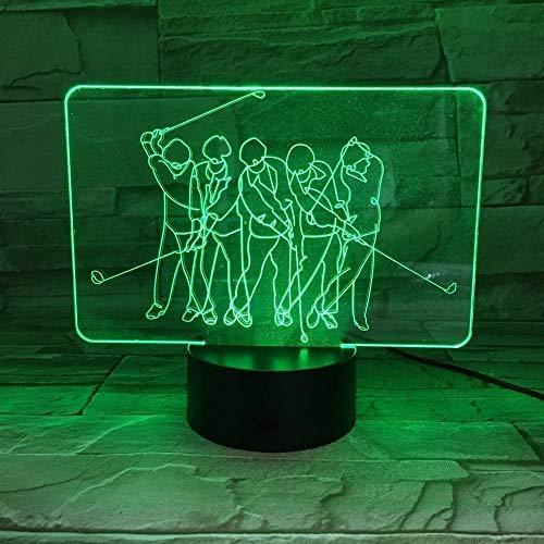 Luz nocturna 3D para jugar al golf, lámpara de mesa USB, 7 colores, LED, decoración del hogar, además de iluminación del sueño, juguete para niños, lámpara de regalo
