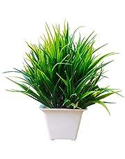 Breeze Artificial Green Bushy Bamboo Plant with White Pot 20cm x 18cm
