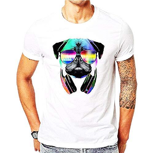 T-shirt met korte mouw - mannelijk t-shirt - mannelijke hond - hoofdtelefoon - dj - muziek - bril - origineel cadeau-idee - grappig - wit