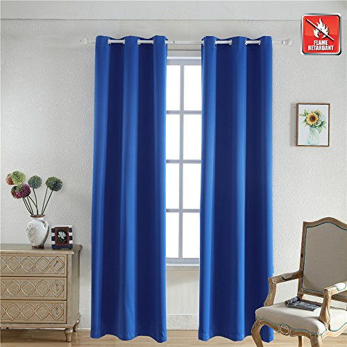 BEGOODTEX Flame Retardant Curtains Fire Resistant Curtain, Royal Blue, 42W by 95L inch, 1 Panel