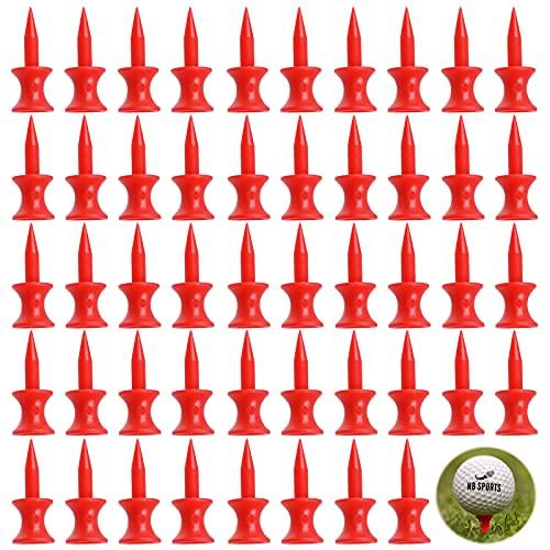 Plastic Golf Tees Soportes para Pelotas de Golf de Plástico Golf tee Accesorios para Entrenamiento de Golf Double Limit tee Camiseta de Golf Roja Grande con Forma de Rueda de 30 mm (50 Piezas)