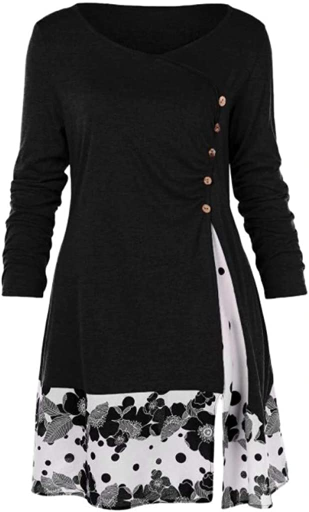 aihihe Womens Plus Size Tops Long Sleeve Crew Neck Blouse Button Down Shirt Floral Print Patchwork T Shirts Dress