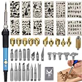 46pcs Wood Burning Kit,Professional Pyrography Pen Set with Adjustable Temperature Soldering Pyrography Wood Burning Pen, Embossing/Carving/Soldering Tips Stand