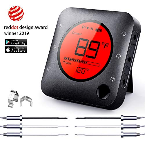 Bluetooth Meat Thermometer Wireless Meat Thermometer, Wireless Digital Grill Thermometer with 6...