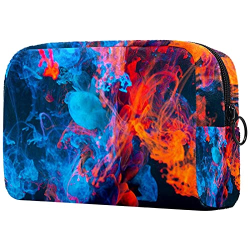 Bolsa de embalaje de viaje pequeña bolsa de maquillaje neceser bolsa de cosméticos impermeable con cremallera bolsa de cosméticos organizador de accesorios para mujeres abstracto hermoso