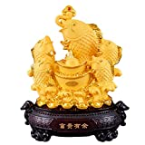 NYKK Wealth Prosperity Statue Large Size Feng Shui Wealth Goldfish Lucky Fish Statue Figurine Office Living Room Decoration Best Gift for Business Opening Feng Shui Decor Decor Feng Shui