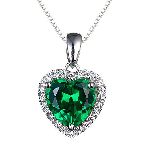 Navachi 925 Sterling Silver 18k White Gold Plated 3.7ct Heart Emerald Az9632p Necklace Pendant 18'