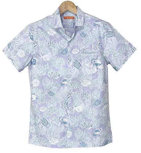アロハシャツ メンズ TORI RICHARD ラベンダー色/サンゴ礁柄 フルボタンタイプ ハワイ製 (US XSサイズ)