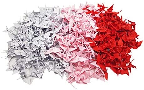1000 Origami Paper Cranes Red Columbus Mall Pink Tone cm 3.81 White inches 1.5 Challenge the lowest price