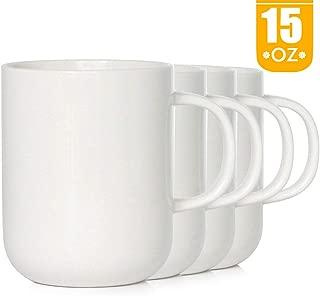 15 oz Porcelain Coffee Mugs, Smilatte M008 Novelty Blank Ceramic Cup for Tea, Cocoa, Set of 4, White