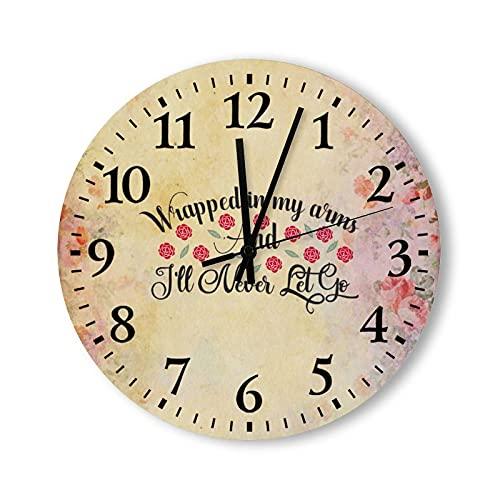 by Unbranded Horloge murale en bois de 38,1 cm, enveloppée dans mes bras, ronde à piles, décoration d'intérieur