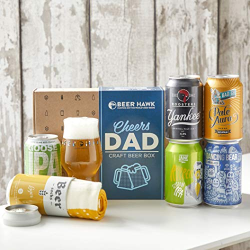 Cheers Dad Craft Beer Gift Set by Beer Hawk - Ideal Craft Beer Gift Hamper for Dad with Beer Glass and Beer Socks - The Christmas Beer Gift for Beer Lovers