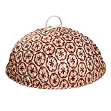NewFerU Bamboo Woven Food Dome Lid Cover, Keep Out Bugs Flies for 13' Table Serving Tray Storage Plate Platter with Handles for Picnic Party Bread Cake Pizza Dry Fruit Dessert Indoor Outdoor (Red)