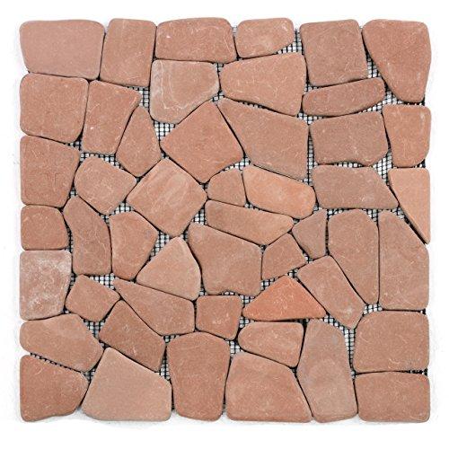 DIVERO 11 Fliesenmatten Natursteinmosaik Bruchmosaik für Wand und Boden terracotta á 30 x 30 cm
