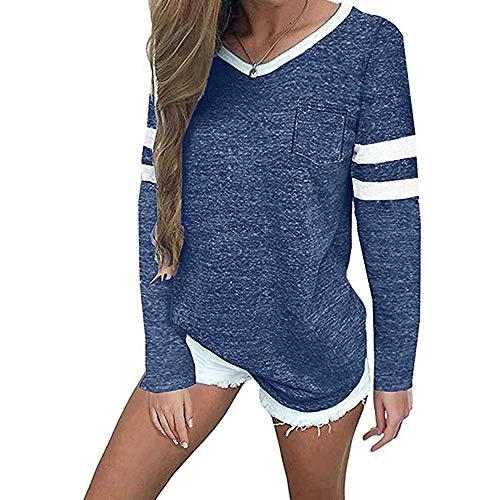 Super㊣fire Damen Langarm T-Shirt V-Ausschnitt Casual Lose Shirt Oversize Oberteile Bluse Damen Langarmshirt Farbblock Langarm Tshirts Casual Tunika Tops Blusenshirt Hemdbluse Baseball Shirt
