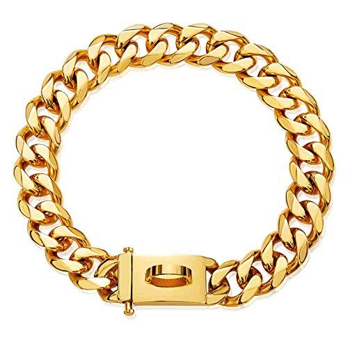 Havenfly Collar de Oro para Mascotas, Collar de Cadena Deslizante de eslabones metálicos de Acero Inoxidable Fuerte Ajustable de 18 Quilates para Perros pequeños medianos Grandes (B, 18'')