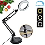 DLLT Flexible Arm Desk Lamp, Dimmable LED Work Desk Lamps, Clamp-on Desk Light, Eye-Care Soft Light, Reading Lamp, Bedroom Lamps, Multi-Joint Adjustable Arm Desk lamp, Black Painted with Metal Clamp