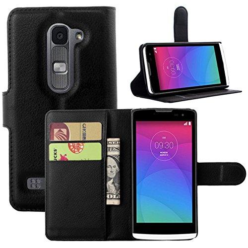 JARNING Kompatibel mit LG Leon Y50 C40 C50 4G LTE H340N H320 H324 H324 Leder Schutzhülle PU Leder Wallet Flip Hülle Tasche mit Magnetverschluss Kartenfach Standfunktion -Schwarz
