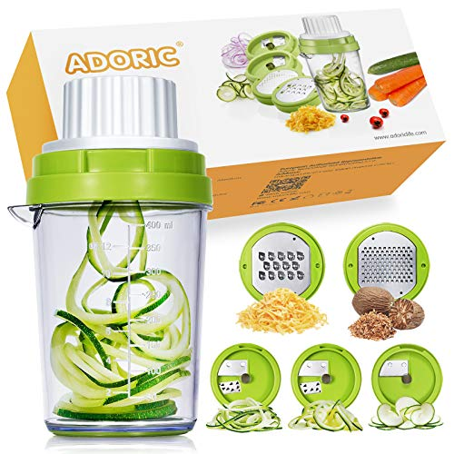 ADORIC 5 in 1 Vegetable Spiralizer Slicer Heavy Duty Spiral Slicer Zucchini Noodle & Veggie Pasta & Spaghetti