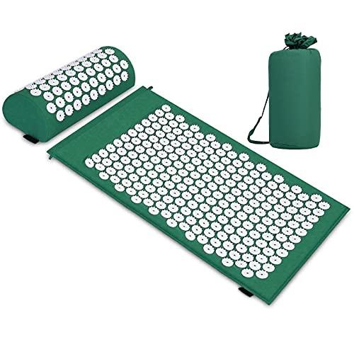 Esterilla de acupresión, Colchoneta de masaje con almohada para aliviar el dolor corporal y el estrés Kit (Verde)