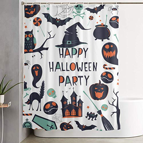 MJIAX Shower curtain,Happy Halloween Pumpkin Jack Lantern,Ghost,Spider,Bat,Witch Hat,Cat,Broom,Cauldron,Owl,Castle,bathroom curtain washable curtain polyester fabric with 12 plastic hooks 180x180cm