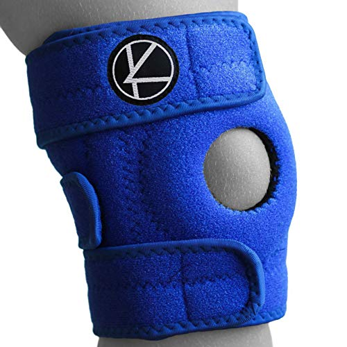 Adjustable Kids Knee Brace Support - Best Knee Support for Youth, Arthritis, ACL, MCL, LCL, Sports Exercise, Meniscus Tear. Open Patella Neoprene Stabilizer Wrap for Children, Boys, Girls (Blue)