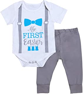 Newborn Infant My First Easter Outfit Baby Boys Bowtie Bunny Print Bodysuit Short Sleeve Romper Gray Pants Clothes Set