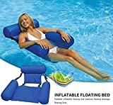 Trendy Water Hammock, Swimming Pool Beach Floating Recliner Inflatable Water Hammock Floating Bed Lounge Chair Drifter Swimming Pool Beach Float for Adult (Blue)