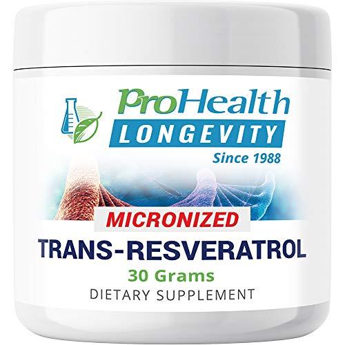 ProHealth Longevity Micronized Trans Resveratrol Powder - 99.5% Pure Pharmaceutical Grade, 1000 mg per Scoop, Superior Absorption and Bioavailability (30 Grams)