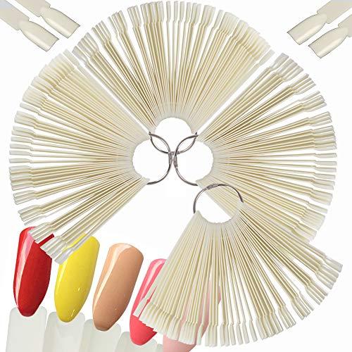 4 SET 200 PCS Nail Art Tips Stick Display Nagel Präsentation Nagelkunst Fächer Nagellack Praxis Farbpalette Nagelrad Nagelspitzen Farbfelder Karte (Natürliche Farbe)
