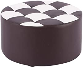 Yxsdd Small Stool Household Bench Solid Wood Leather Stool Creative Sofa Stool Living Room Coffee Table Low Stool Round Pi...