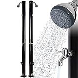 Arebos Ducha solar | 20 litros | 221 cm | con termómetro integrado y ducha de pie | negro | cabezal de ducha redondo | conector de manguera de jardín | incluye material de montaje