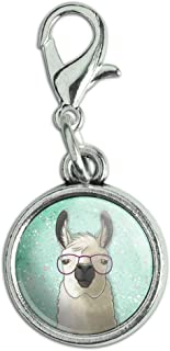GRAPHICS & MORE Hip Llama with Glasses Antiqued Bracelet Pendant Zipper Pull Charm with Lobster Clasp