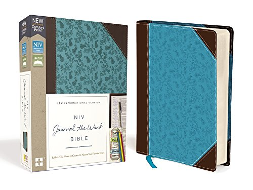 NIV, Journal the Word Bible, Leathersoft, Brown/Blue, Red Letter Edition, Comfort Print: Reflect, Take Notes, or Create Art Next to Your Favorite Verses