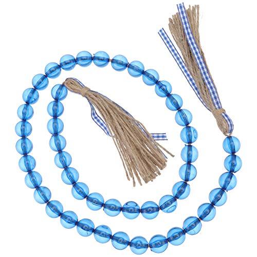 Amosfun Acrylic Bead Garland with Tassels Blue Bead String Wall Hanging Decoration Prayer Boho Bead with Hemp Rope Tassel for Wall Vase Front Door Nursery Decor