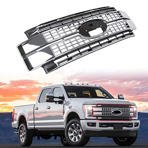 ECOTRIC New Satin Aluminum Platinum Style Front Bumper Hood Grille Chrome Grill for 2017-2019 Ford F250 F350 F450 Super Duty