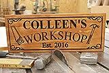 Evan332Eddie Werkstatt-Schild mit Vornamen, personalisiertes Holzschild, Hauseinweihung, Gedrucktes Schild mit Hammersäge,...