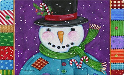 Patchwork Snowman 24 x 36 Inch Decorative Floor Mat Colorful Winter Patch Quilt Candy Cane Doormat