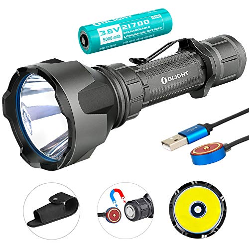 SKYBEN Olight Warrior X Turbo 1100 Lumen 1000 Meter Throw Tail Switch 21700 Battery Magnetic Rechargeable Tactical Flashlight, Battery Box Included (Gunmetal Grey Color)