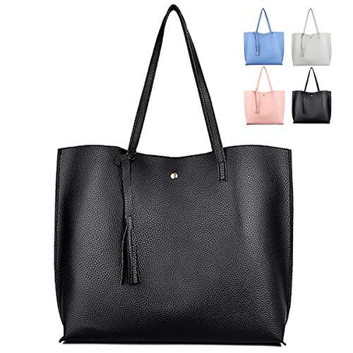 ZhengYue Handtasche Damen Tasche Schultertasche PU Leder Tasche Handtaschen Shopper Shopping Bag Umhängetasche für Alltag Büro Schule Ausflug Einkauf Schwarz